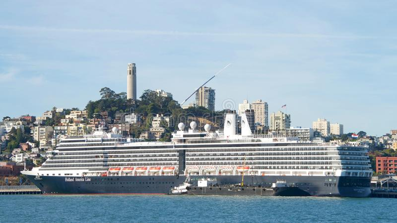 Holland America Line cruise ship NIEUW AMSTERDAM docked in the San Francisco Bay stock photography