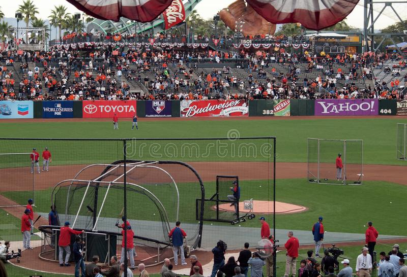 Phillies players taking batting practice royalty free stock image