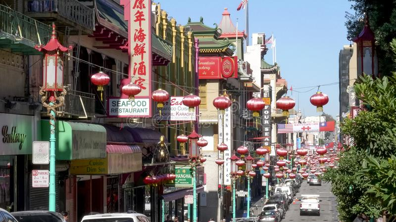 SAN FRANCISCO, CA, UNITED STATES OF AMERICA - OCTOBER, 27, 2017: grant avenue in the chinatown district of san francisco stock image