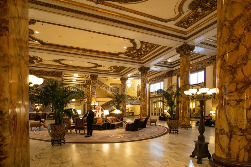 San Francisco, CA / United States - August 25, 2019: Interior shot of the lobby of the historic Hotel Fairmont San Francisco. The Fairmont San Francisco is an royalty free stock photography
