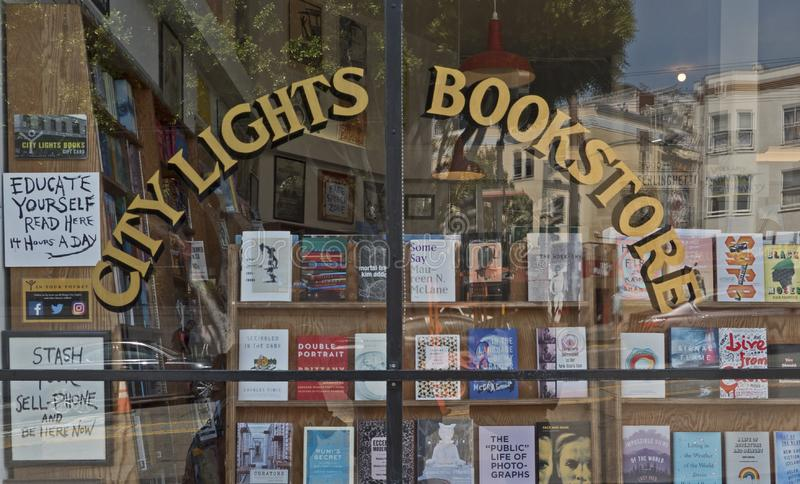 City Lights Bookstore showcase in San Francisco, CA stock photography