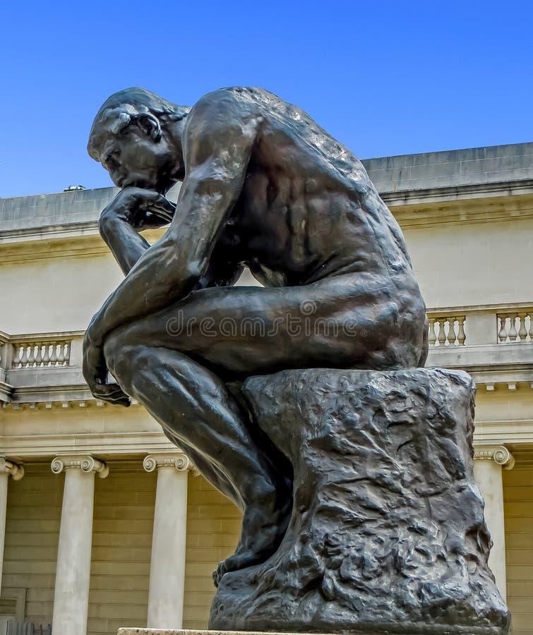 San Francisco, CA USA - The Legion of Honor - Rodin`s The Thinker royalty free stock photography