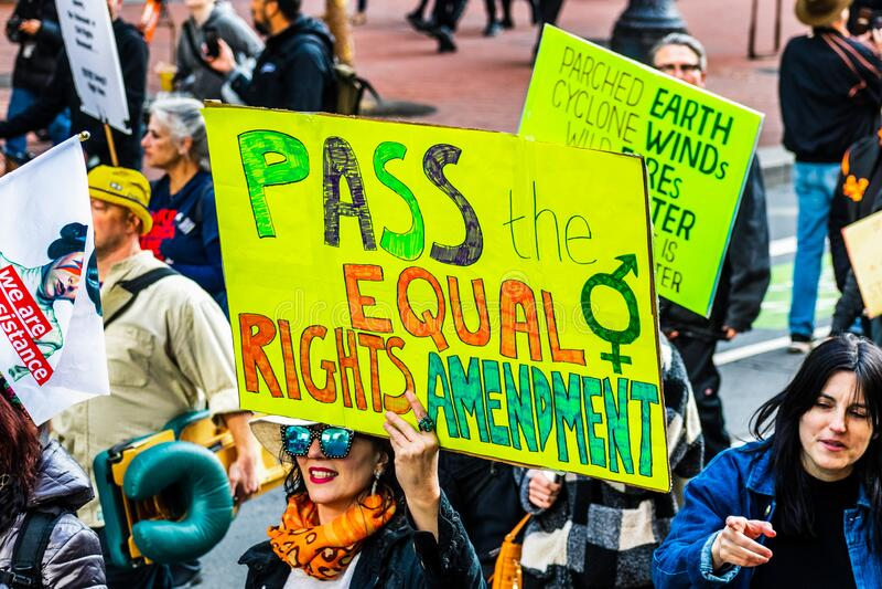 18.01.2020 San Francisco / CA / USA - Teilnahme an der Veranstaltung 'Women`s March' lizenzfreies stockfoto