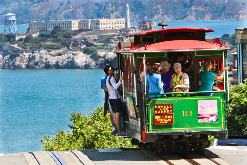San Francisco Cable Car #13, Alcatraz fotografering för bildbyråer