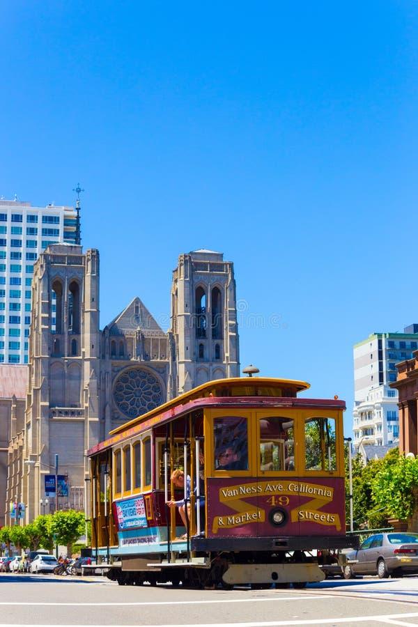 San Francisco Cable Car Grace Cathedral Hob Hill V royalty free stock photo