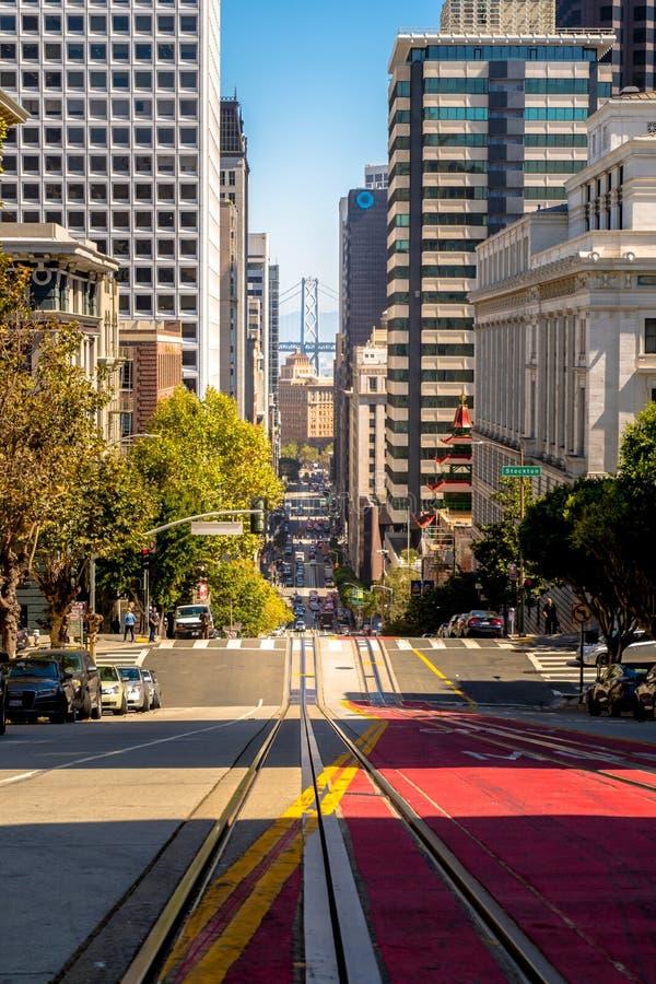 San Francisco Cable Car i centrum royaltyfri fotografi