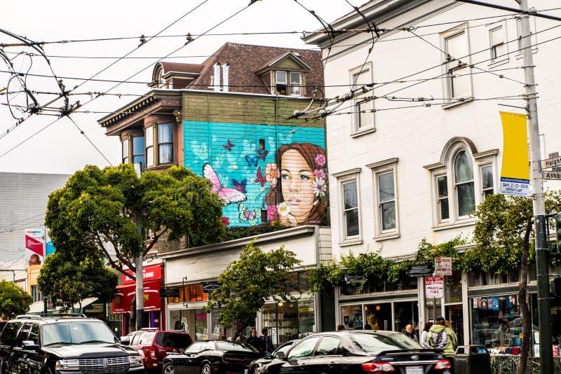 San Francisco Cable Car i centrum arkivfoton