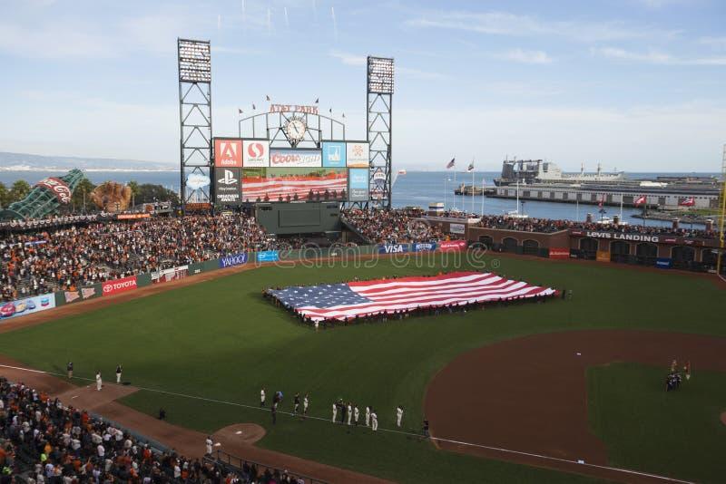 San Francisco, Californië, de V.S., 16 Oktober, 2014, AT&T-Park, honkbalstadion, SF-Reuzen tegenover St Louis Cardinals, National stock afbeeldingen