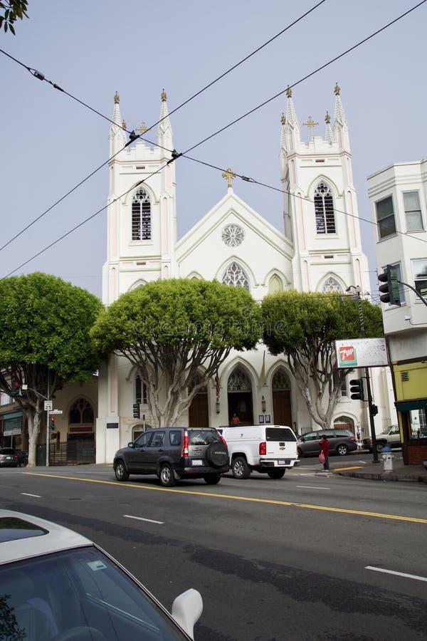 SAN FRANCISCO, CALIFORNIË, VERENIGDE STATEN - 25 NOV., 2018: Het Nationale Heiligdom van Heilige Francis van Assisi, mooie oud royalty-vrije stock foto's