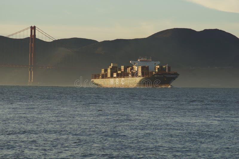 SAN FRANCISCO, CALIFORNI?, VERENIGDE STATEN - 25 NOV., 2018: doctorandus in de exacte wetenschappenVrachtschip SILVIA die San Fra royalty-vrije stock afbeelding
