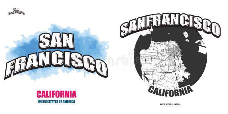 San Francisco, California, due materiali illustrativi di logo illustrazione vettoriale