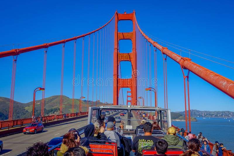 San Francisco, California - February 11, 2017: Beautiful touristic view of Golden Gate Bridge taken from tour bus in San. Francisco city royalty free stock photography