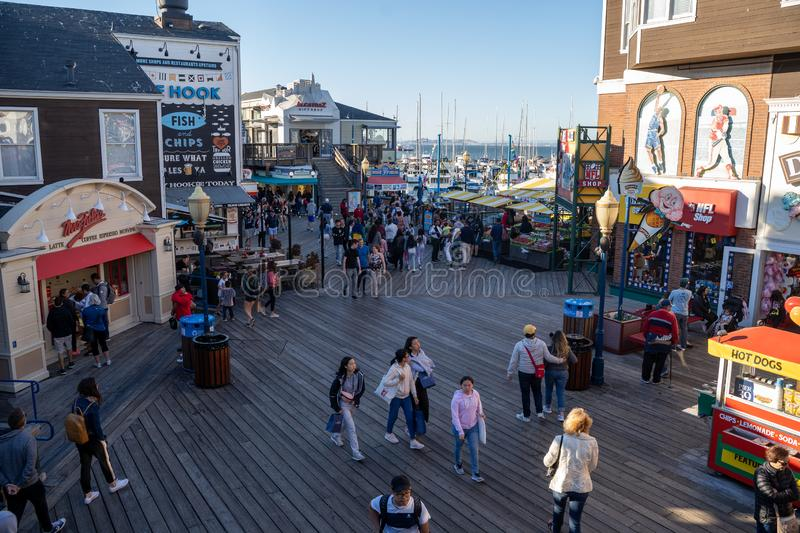 San Francisco, California - July 10, 2019: Aerial view of the Pier 39 touristy shopping area in the Fishermans Wharf neighborhood stock photos