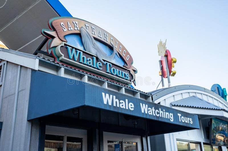 San Francisco, California - July 10, 2019: Exterior view of the San Francisco Whale Watching Tours excursion operation near royalty free stock images
