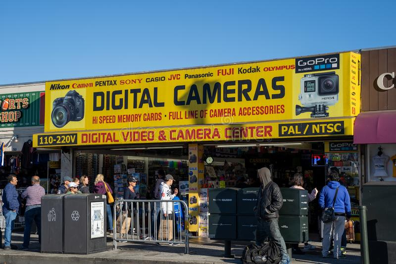 San Francisco, California - July 10, 2019: Store selling digital cameras, video recorders and other tech accessories on Fishermans royalty free stock photos