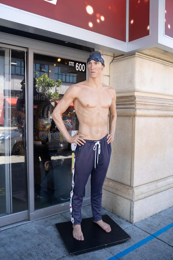 San Francisco, California - July 10, 2019: Wax figure statue of Olympic gold medalist swimmer Michael Phelps outside of Madame stock photography