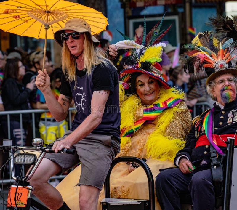 Gay Pride Parade in San Francisco - Emperor Norton and Countess. SAN FRANCISCO, CALIFORNIA, JUNE 24, 2018: GAY PRIDE PARADE - Emperor Norton and Countess Lola royalty free stock photo