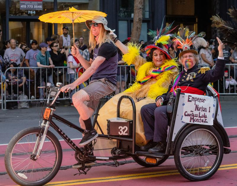 Gay Pride Parade in San Francisco - Emperor Norton and Countess. SAN FRANCISCO, CALIFORNIA, JUNE 24, 2018: GAY PRIDE PARADE - Emperor Norton and Countess Lola stock photography