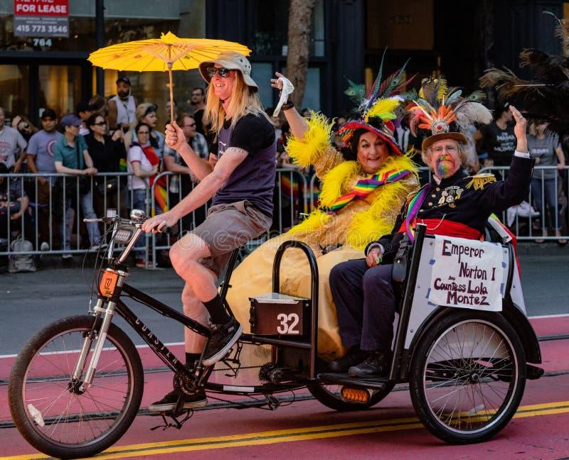 Gay Pride Parade in San Francisco - Emperor Norton and Countess. SAN FRANCISCO, CALIFORNIA, JUNE 24, 2018: GAY PRIDE PARADE - Emperor Norton and Countess Lola royalty free stock images