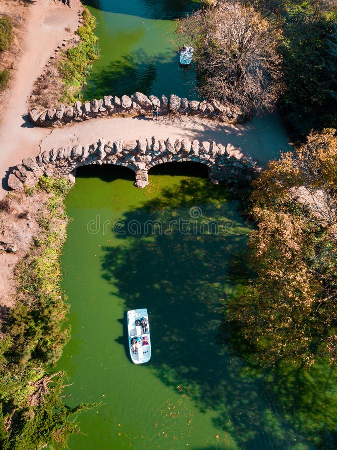 San Francisco, California, 09, October, 2017 Aerial view of a stone bridge in Golden Gate park royalty free stock images