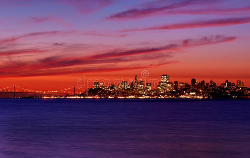 San Francisco, California Skyline at Sunrise royalty free stock photography