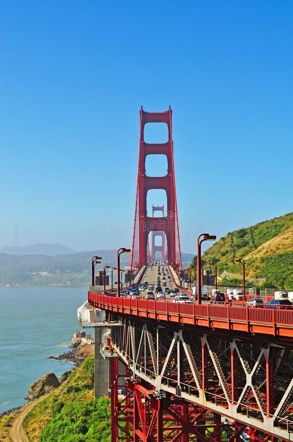 San Francisco, Golden Gate, bridge, skyline, California, United States of America, Usa, traffic, haze, fog, bay stock photo