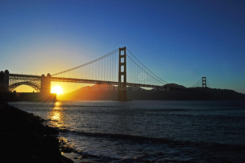 San Francisco, Golden Gate, bridge, skyline, California, United States of America, Usa, sunset, bay, Pacific Ocean stock photo