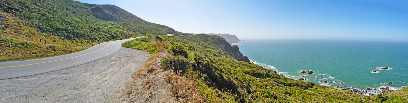San Francisco, road, Muir Woods, nature, landscape, cliff, panoramic, scenic drive, California, United States of America, Usa. Panoramic view of the road to Muir stock photo