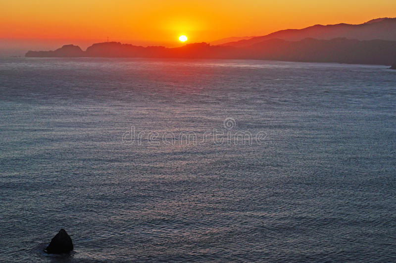 San Francisco, California, United States of America, Usa, sunset, bay, Pacific Ocean, nature, landscape, beach. Sunset in the San Francisco Bay on June 3, 2010 royalty free stock photos