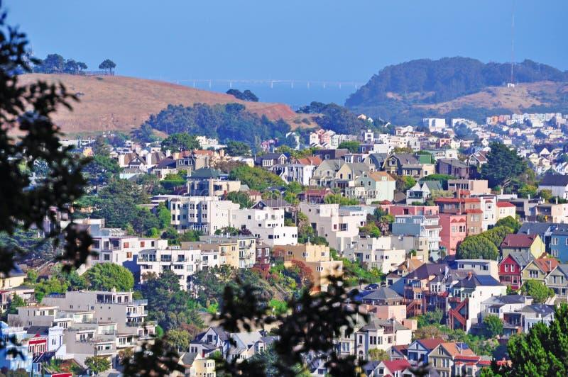 San Francisco, skyline, viewpoint, Buena Vista, hill, hilltop, California, United States of America, Usa. View of Buena Vista on June 13, 2010. The Buena Vista stock photo