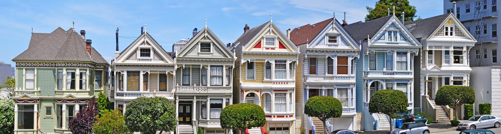 San Francisco, Painted Ladies, architecture, victorian house, California, United States of America, Usa, Alamo Square, panoramic royalty free stock images