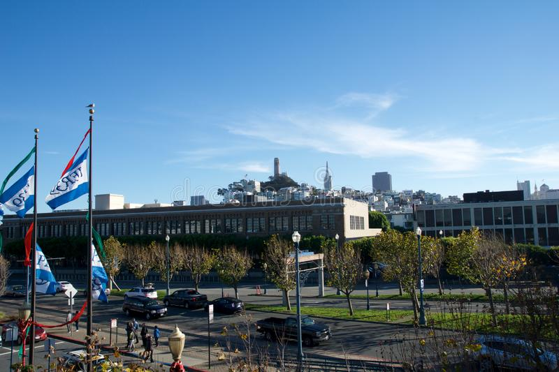 SAN FRANCISCO, CALIFORNIA, UNITED STATES - NOV 25th, 2018: Aerial view Embarcadero boulevard and Telegraph Hill. Neighborhood from Pier 39. Coit Tower is stock photo
