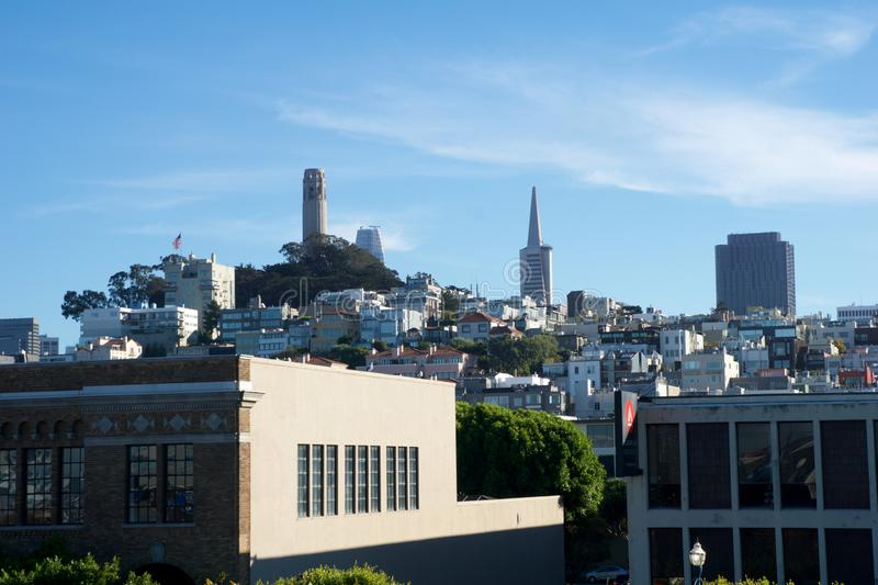 SAN FRANCISCO, CALIFORNIA, UNITED STATES - NOV 25th, 2018: Aerial view Embarcadero boulevard and Telegraph Hill. Neighborhood from Pier 39. Coit Tower is stock images