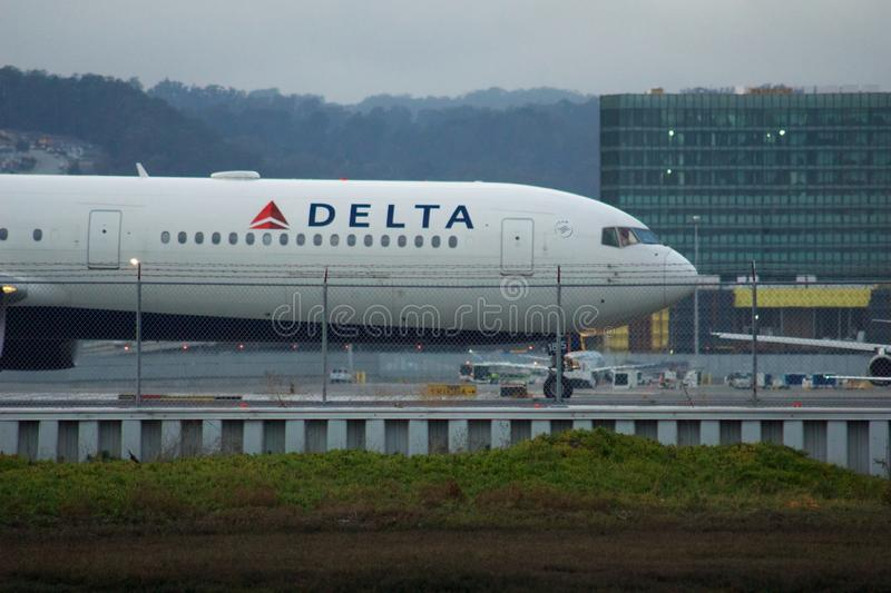 SAN FRANCISCO, CALIFORNIA, UNITED STATES - NOV 27th, 2018: A Delta Boeing 767 taxiing along the taxiway before departure. At SFO International Airport royalty free stock photography