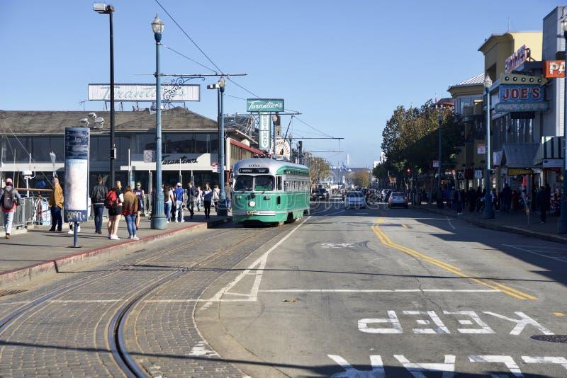 SAN FRANCISCO, CALIFORNIA, UNITED STATES - NOV 25th, 2018: F-line Antique PCC streetcar No.1053 Brooklyn at Fisherman`s. Wharf royalty free stock images