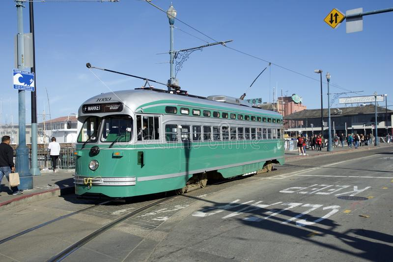 SAN FRANCISCO, CALIFORNIA, UNITED STATES - NOV 25th, 2018: F-line Antique PCC streetcar No.1053 Brooklyn at Fisherman`s. Wharf stock photo