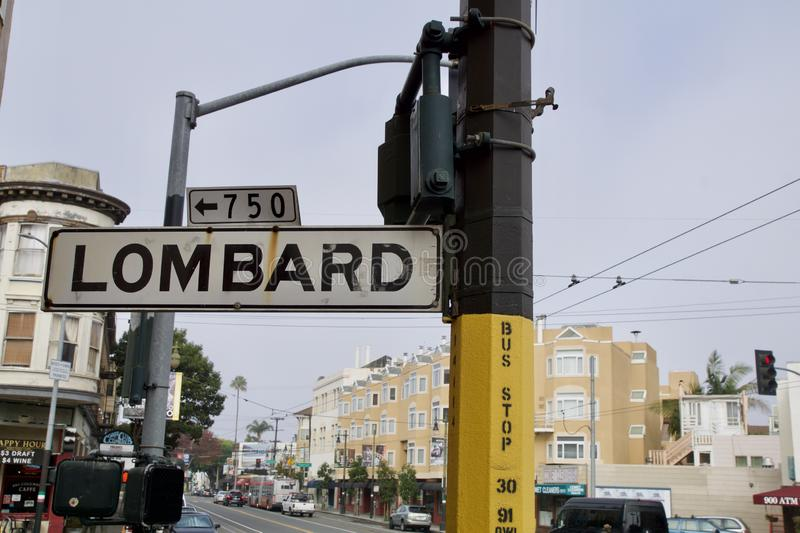 SAN FRANCISCO, CALIFORNIA, UNITED STATES - NOV 25th, 2018: Street sign of Lombard street, best know as the most crooked. Street in the world stock photography