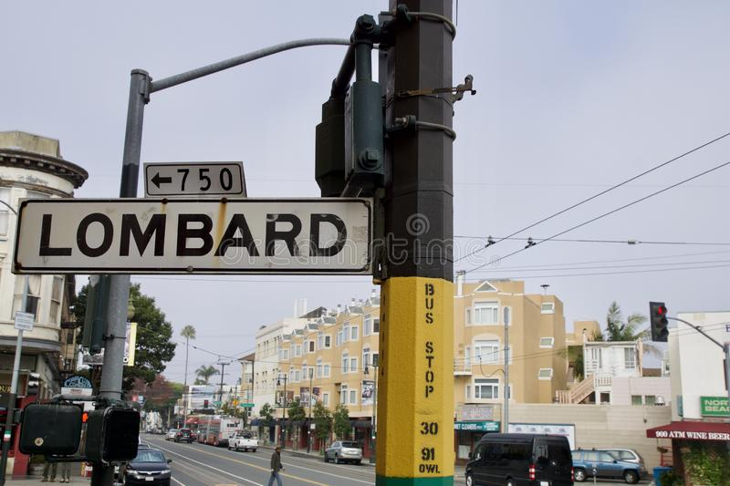 SAN FRANCISCO, CALIFORNIA, UNITED STATES - NOV 25th, 2018: Street sign of Lombard street, best know as the most crooked. Street in the world stock photos