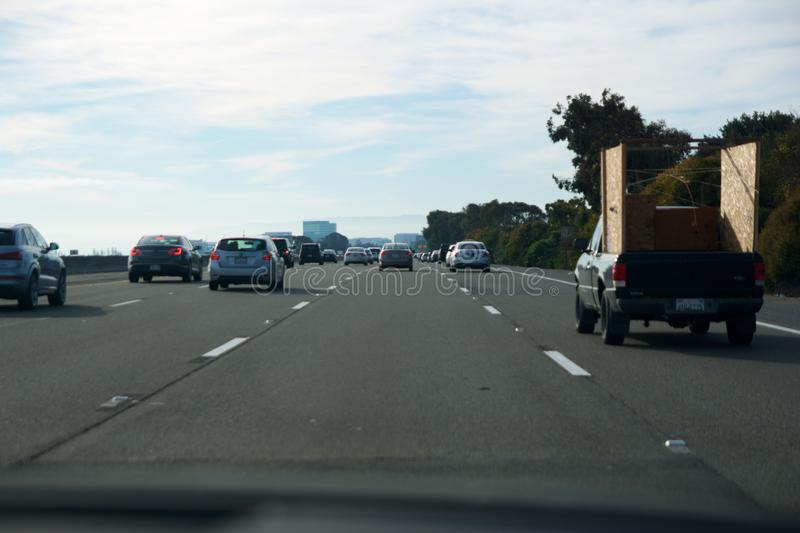 SAN FRANCISCO, CALIFORNIA, UNITED STATES - NOV 26th, 2018: traffic on a highway or freeway in rush hour to Mountain View.  stock images