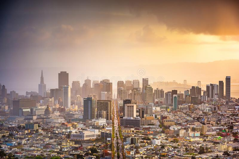 San Francisco, California, USA. Downtown skyline at dawn royalty free stock photography