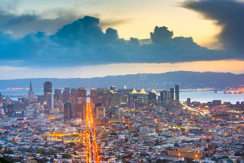 San Francisco, California, USA. Downtown skyline at dawn royalty free stock photo