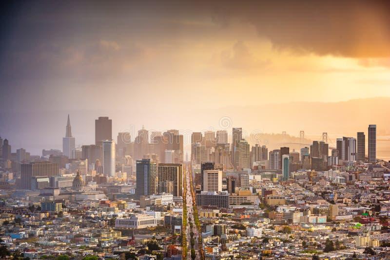 San Francisco, California, USA. Downtown skyline at dawn stock images