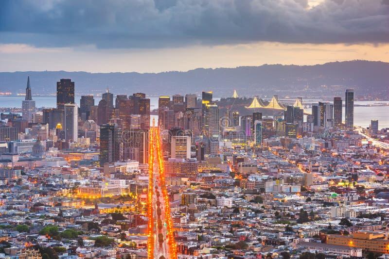 San Francisco, California, USA. Downtown skyline at dawn royalty free stock photos