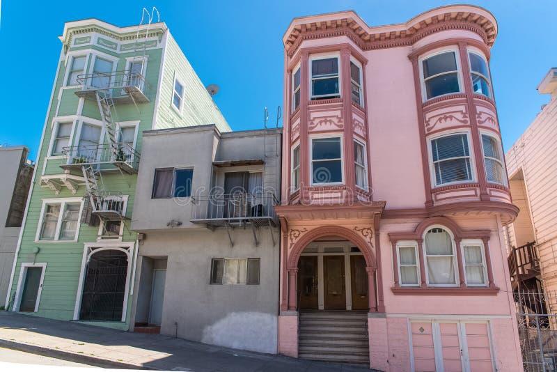 San Francisco, casas típicas fotografía de archivo