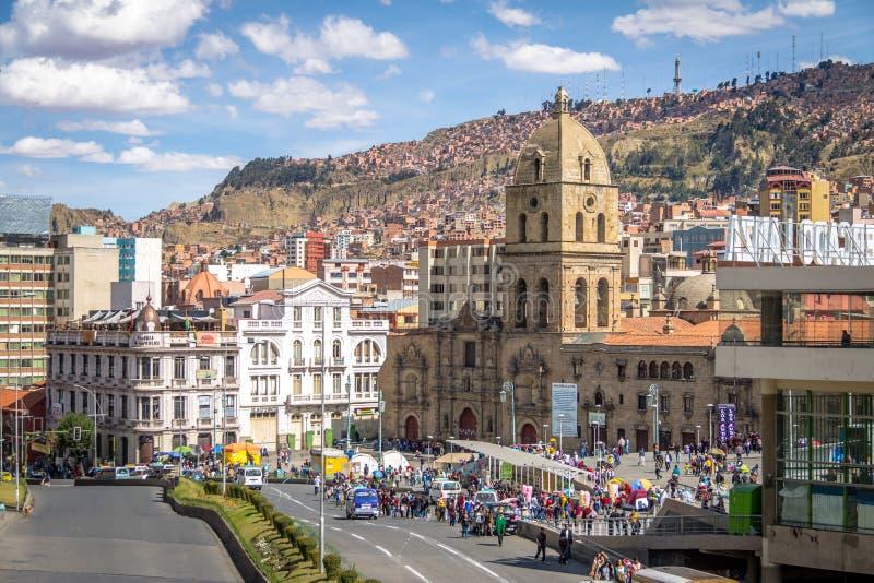 San Francisco Church adentro en el centro de la ciudad - La Paz, Bolivia foto de archivo