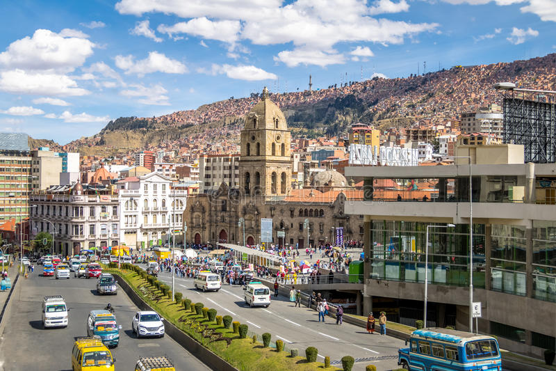 San Francisco Church binnen de stad in - La Paz, Bolivië royalty-vrije stock foto's