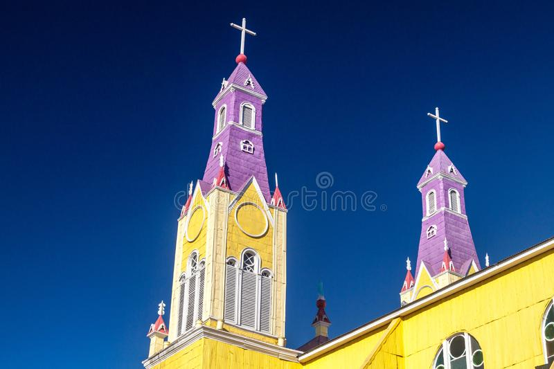 San Francisco church in Castro. Chiloe island, Chile royalty free stock images