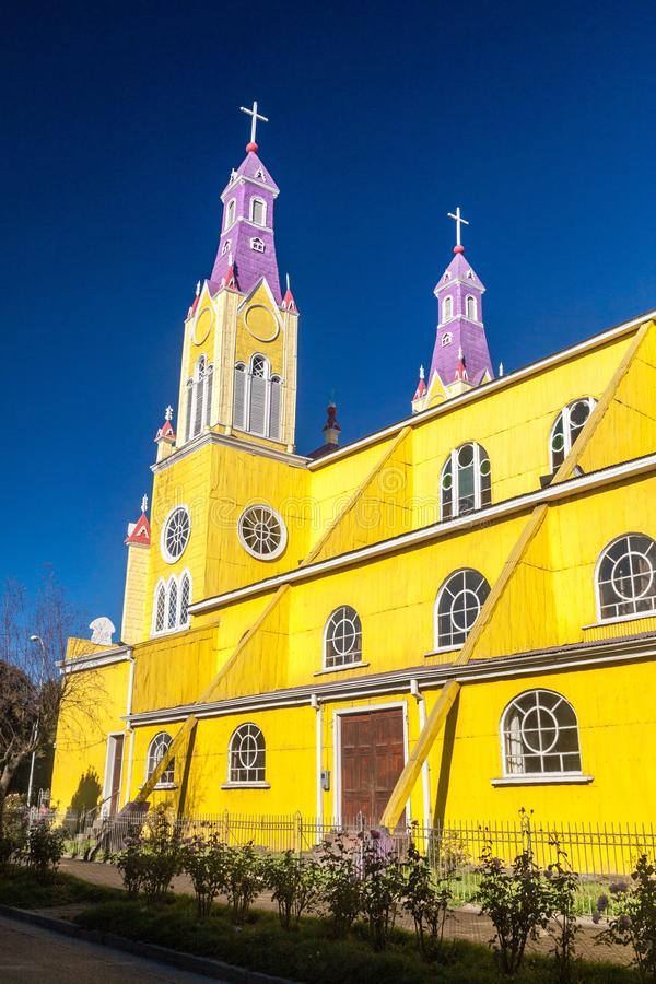 San Francisco church in Castro. Chiloe island, Chile stock photo