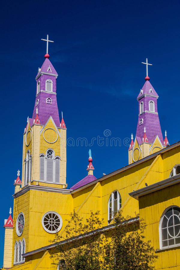 San Francisco church in Castro. Chiloe island, Chile royalty free stock image
