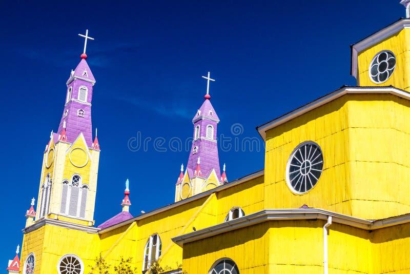 San Francisco church in Castro. Chiloe island, Chile stock image